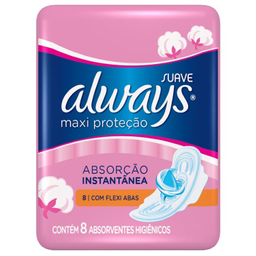 Absorvente Always Maxi Proteção Pink Suave Com Abas Com 8 U