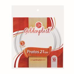 Leve 6 Und  Prato Desc Redondo Goldenplast 21Cm C/10 Cristal