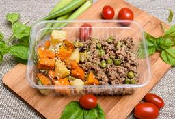 Carne Moída com Ervilhas e Legumes Assados