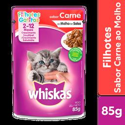 Leve 6 Ração Úmida Whiskas Sachê Carne Gatos Filhotes 85 g