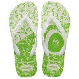 Sandalia Havaianas Top Branco Com Verde 33/4