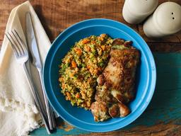 Sobrecoxa grelhada + couscous marroquino