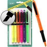Pincel marca texto c/grip 6 canetas - 5 cores Oval
