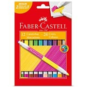 Caneta hidrográfica 24 cores (12 bicolor) 150612P Faber Castell