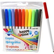 Caneta hidrográfica 12 cores para colorir Happy-time