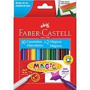 Caneta hidrografica 10 cores 2 mágicas 15.0112MZF Faber Castell