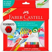 Lapis de cor 60 cores Aquarelável c/pincel 120260 Faber Castell