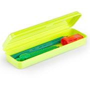 Estojo escolar plástico neon amarelo 10080014 Waleu