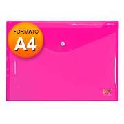 Pasta documento A4 fecho botão rosa 653PP-RS DAC