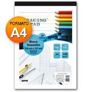 Bloco desenho A4 branco 180g 20 fls Tracing Pad 81418 Spiral