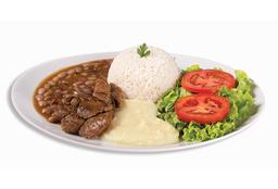Iscas de Carne - 120g + Refri Lata + Sobremesa