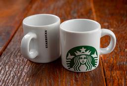 2 Xícaras Logo Starbucks Lisa Branca - 100ml