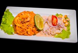 Combinado Arroz Con Mariscos + Ceviche De Pescado