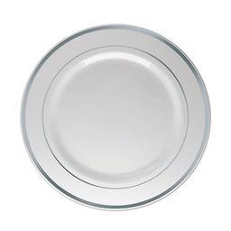 Prato Silver Plástico Refeição Prata 6 Und