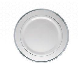Prato Silver Plástico Sobremesa Prata 6 Und