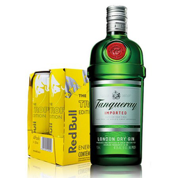 GIN TANQUERAY + 5 RED BULL TROPICAL 350ML