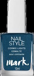 Mark. Nail Style Cosmic Lghts Esmalte Azul Cintilante