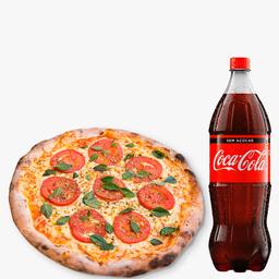 1 Pizza Grande Margherita + 1 Coca-Cola Sem Açúcar 2L