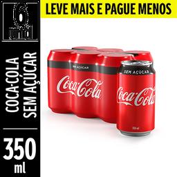 Coca-Cola Sem Açúcar Lata 350ml com 6 u Leve Mais Pague Menos