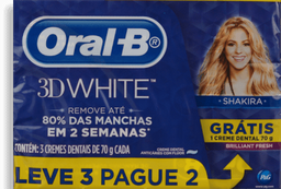 Kit Creme Dental Oral B 3D White 70g Leve 3 Pague 2