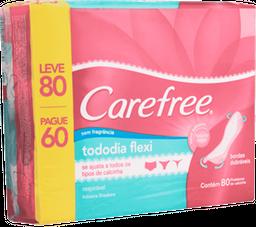 Protetor Diário Carefree Todo Dia Flexi Sem Perfume Leve 80 Pagu