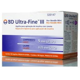 Agulha Para Caneta De Insulina Bd Ultra Fine Mini 5Mm 100 Und