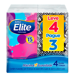 Lenço De Papel Elite Softy'S L4P3 Pacotes Com 15Fls Cada
