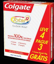 Creme Dental Colgate Total 12 Clean Mint 90 g Leve 4 U Pague 3 U