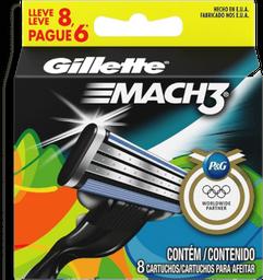 Lâminas de Aparelho de Barbear Gillette Mach 3 Regular Com 8 Und