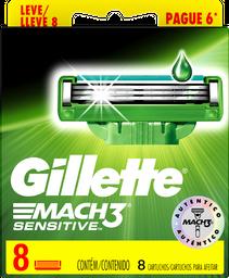 Lâminas de Barbear Gillette Carga Mach3 8 Unidades