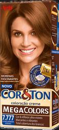 Kit Tintura Mega Colors Cor&Ton 7.777 Louro Marrom Intenso 180g