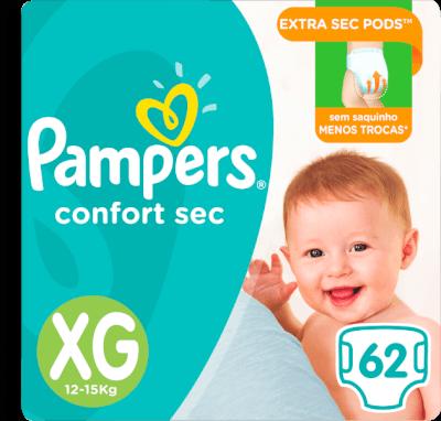 Fralda Pampers Confort Sec Giga Tamanho Xg Com 62 U