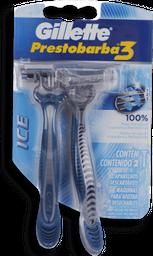 Aparelho De Barbear Gillette Prestobarba 3 Ice Masculina 2 Und