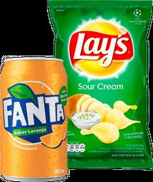 Fanta Laranja 350ml +Batata Frita Lays Chips Creme de Cebola 96g