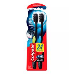 Escova Dental Colgate 360º Black Macia Cabeça Compacta Cores Sor