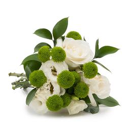 Buquê Bianco com Flores Brancas e Folhagem P