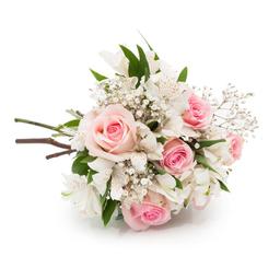 Buquê Romântico com Flores Rosas e Brancas P