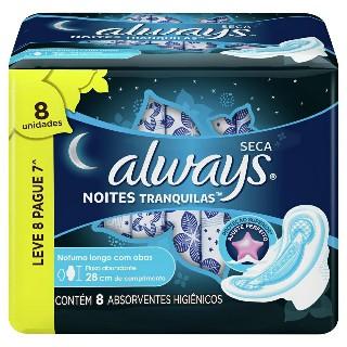 Absorvente Always Noites Tranquilas Seca Com Abas Leve 8 Pague 7