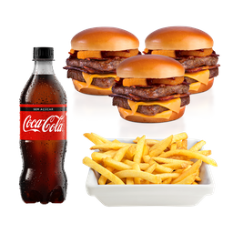 3 Baconators + 1 Batata Mega + 1 Coca-Cola 600ml