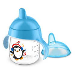 Copo Pinguim Azul Avent Bico Silicone 200 mL