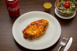 Omelete de Mussarela com Pepperoni + Salada + Refri
