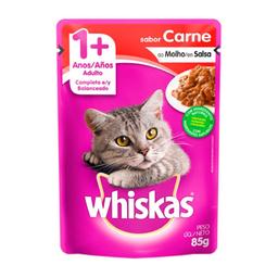 Ração Gatos Whiskas Adulto 1+ Anos Sachê Carne Ao Molho 85 g