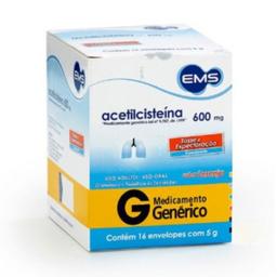 Acetilcisteína 600 Mg Com 16 Envelopes Efervescente 5 g