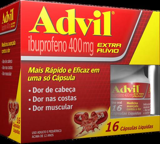 Advil Extra Alivio 400mg Frasco Com 16 Capsulas Gelatinosas