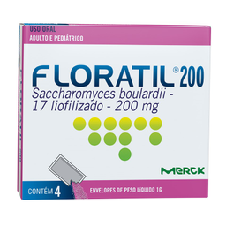 Remédio Floratil 200 Mg Adulto E Pediátrico 4 Envelopes De 1 g