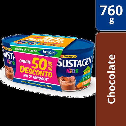 Pack Sustagen Kids Chocolate Lata 2x380g - Complemento Alimentar