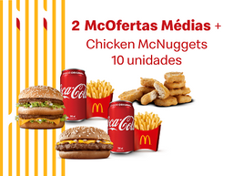 2 McOfertas Médias + Chicken McNuggets 10 unidades + 2 Molhos