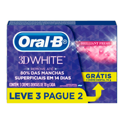 Kit Creme Dental Oral B 3D White 70 g Leve 3 Pague 2 Und