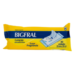 Toalhas Umedecidas Adultos Bigfral 40 Und