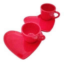 Xicara Para Café Com Pires Coração Vermelha 2 Peças